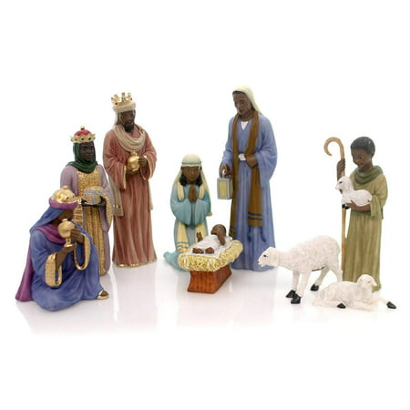 HOLY NATIVITY African American Christmas Figurine, 9 Piece Set, United Treasures