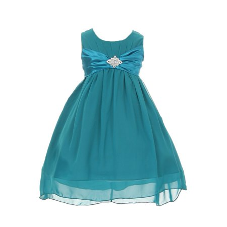 Brooches For Dresses - Girls Teal Chiffon Rhinestone Brooch Hi Lo Special Occasion Dress 8-14