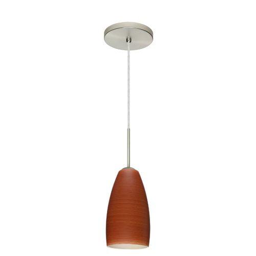 Besa Lighting 1BT-1509CH Chrissy 1 Light Cord-Hung Mini Pendant with Cherry Glas
