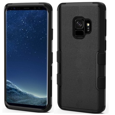 Insten Tuff Dual Layer Hybrid PC/TPU Rubber Case Phone Cover For Samsung Galaxy S9 - Black - image 4 de 4