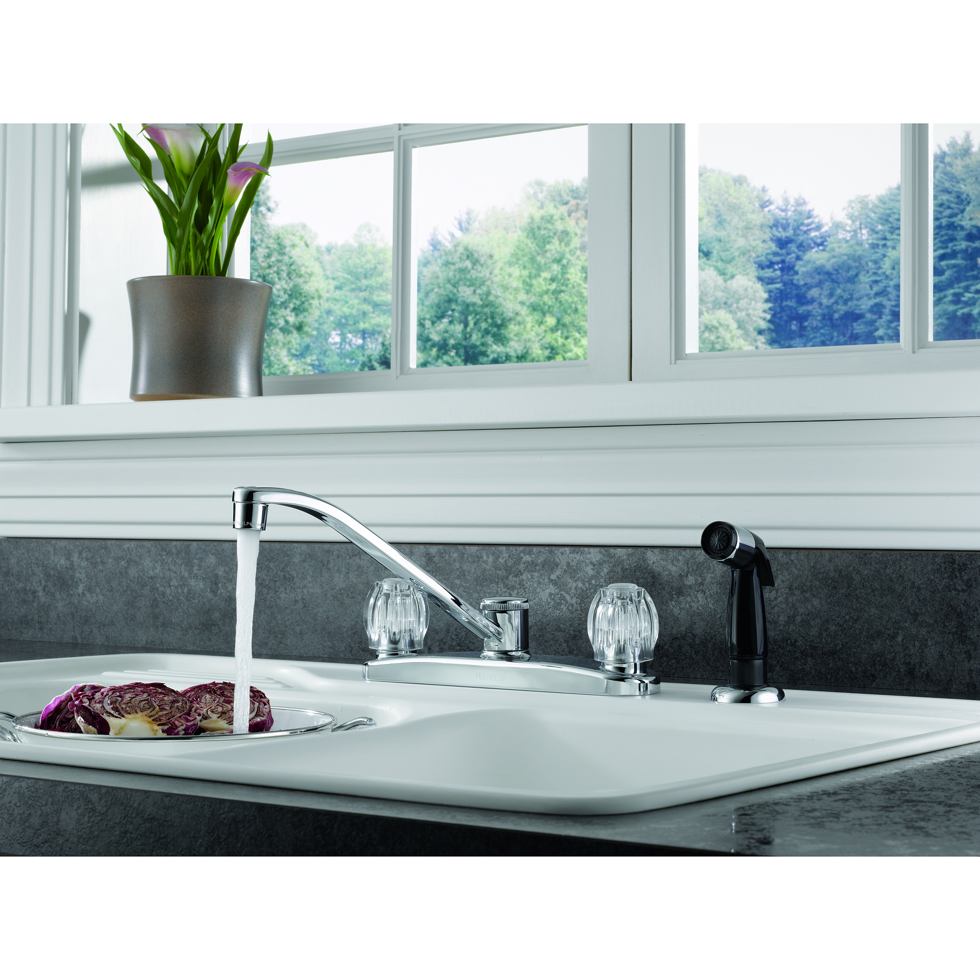 Peerless Two-Handle Kitchen Faucet with Side Sprayer, Chrome, #P225LF-W