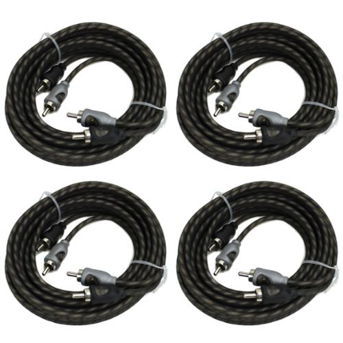 4) Rockford Fosgate RFI-20 20' Ft Twisted 2 Ch RCA Car Audio Signal Cables RFI20