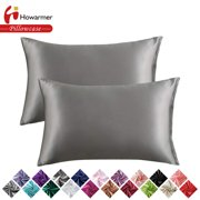 Howarmer Pillowcases for Hair and Skin, Set of 2 Silver Gray Satin Pillowcases with Envelope Closure, Standard