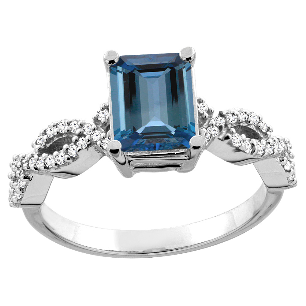 10K White Yellow Gold Yellow Gold Natural London Blue Topaz Ring Octagon 8x6mm Diamond Accent, sizes 5 10 by WorldJewels