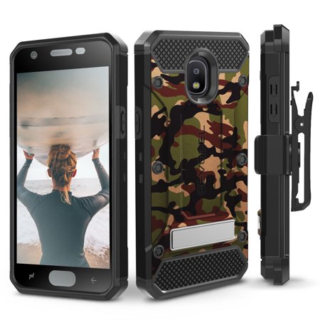 Galaxy J7 (2018) Case, Evocel [Glass Screen Protector] [Belt Clip Holster] [Metal Kickstand] [Full Body] Explorer Series Pro for Samsung J7 V 2nd Gen / J7 Refine / J7 Crown / SM-J737P, Camouflage ()