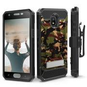 Galaxy J7 (2018) Case, Evocel [Glass Screen Protector] [Belt Clip Holster] [Metal Kickstand] [Full Body] Explorer Series Pro for Samsung J7 V 2nd Gen / J7 Refine / J7 Crown / SM-J737P, Camouflage