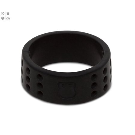 Qalo Qalo Men S Black Perforated Silicone Ring Size 11