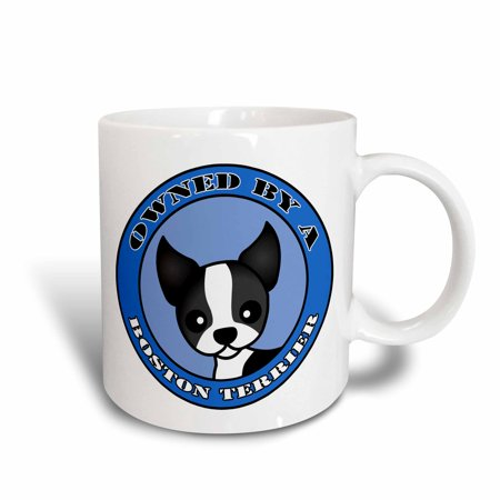 - 3dRose Owned By a Boston Terrier - Blue, Ceramic Mug, 11-ounce