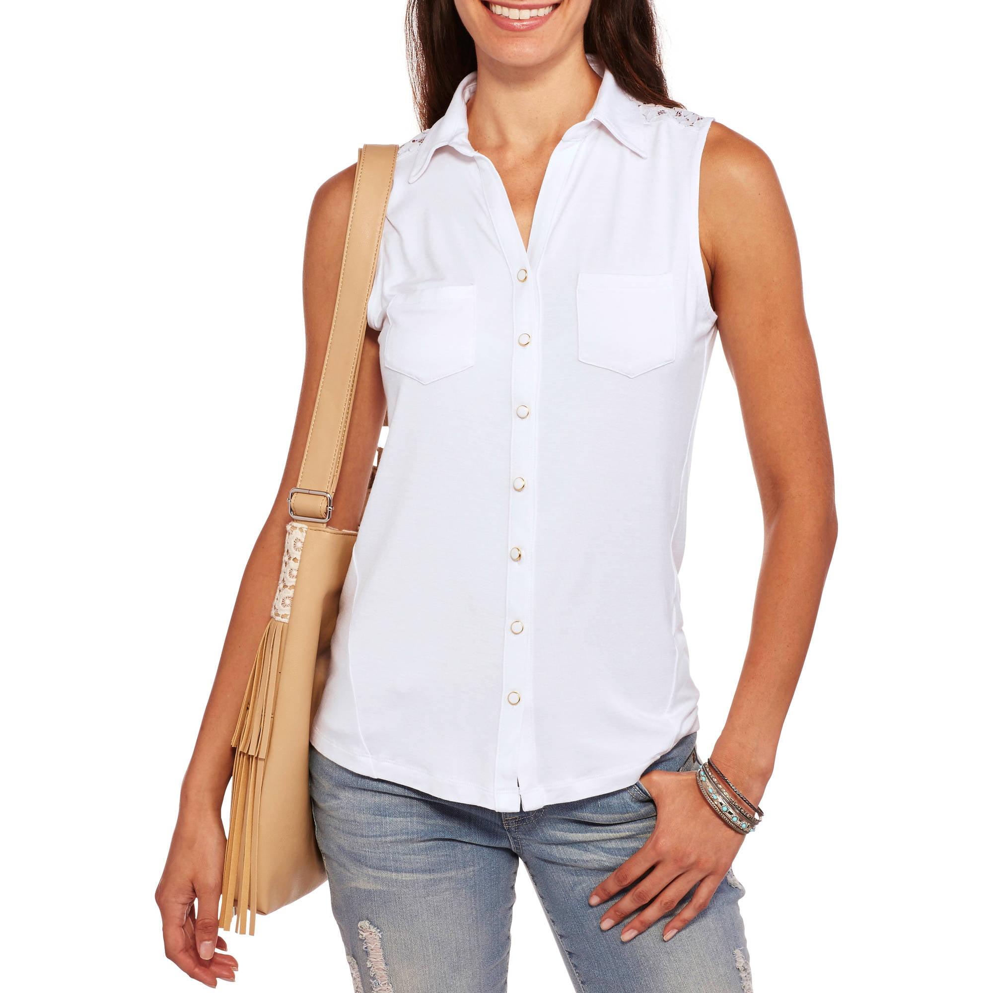 Brooke Leigh Women's Lace Back Sleeveless Shirt Blouse