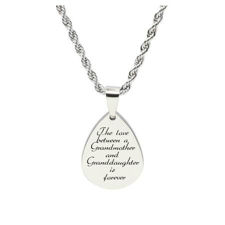 Grandma Tag (Teardrop inspirational Tag Necklace - LOVE BETWEEN GRANDMA )