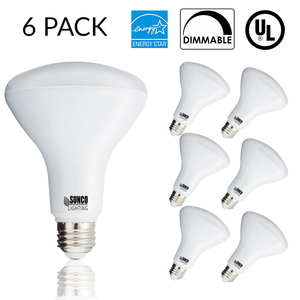 SUNCO 6 PACK- BR30 LED 11WATT (65W Equivalent), 3000K Warm White, DIMMABLE, Indoor/Outdoor Lighting, 850 Lumens, Flood Light Bulb, UL & ENERGY STAR LISTED