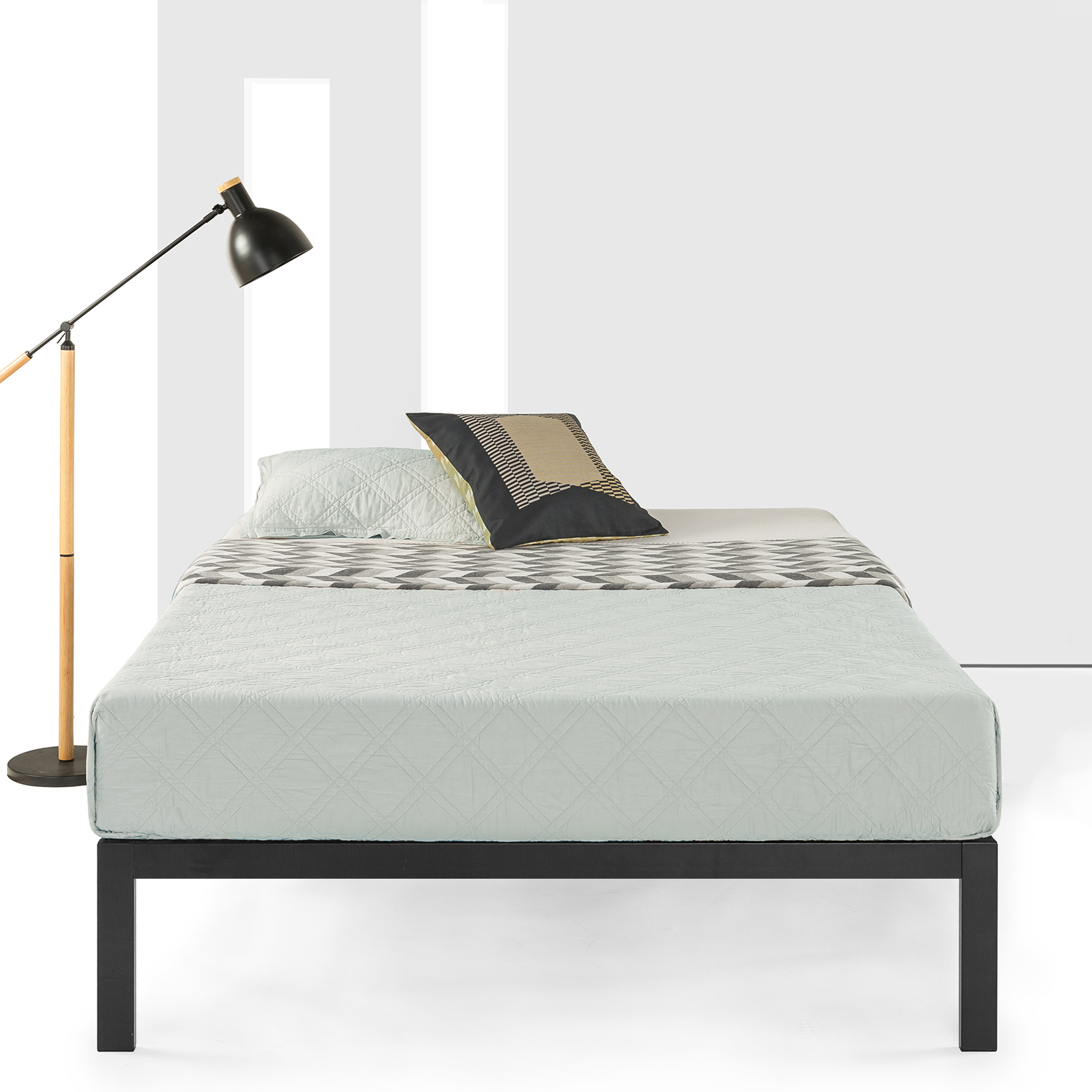 Best Price Mattress 14 Inch Heavy Duty Platform Metal Bed with Wooden Slat Support
