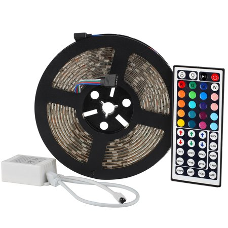 SUPERNIGHT 16.4FT SMD 5050 Waterproof 300LEDs RGB Flexible LED Strip Light Lamp Kit + 44Key IR Remote Controller(Power supply is not included) ()