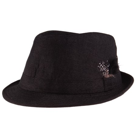 Enimay Men's Women's Classic Manhattan Structured Fedora Hat Checkered Feather One Size