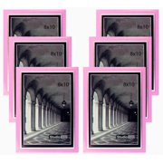 """Studio 500 6-Pack of 8x10"""" Colorful Sleek Frames in Pink with Silver Accent (EPF1313), 6-Pack; Molding Size: 1/2""""w x 5/8""""l x 3/16""""d"""