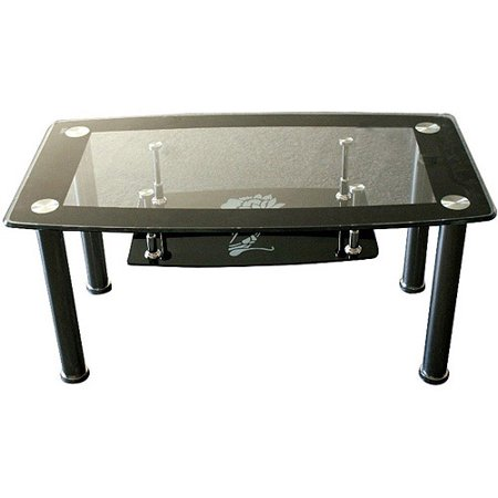 Hodedah Glass Rectangle Coffee Table Black
