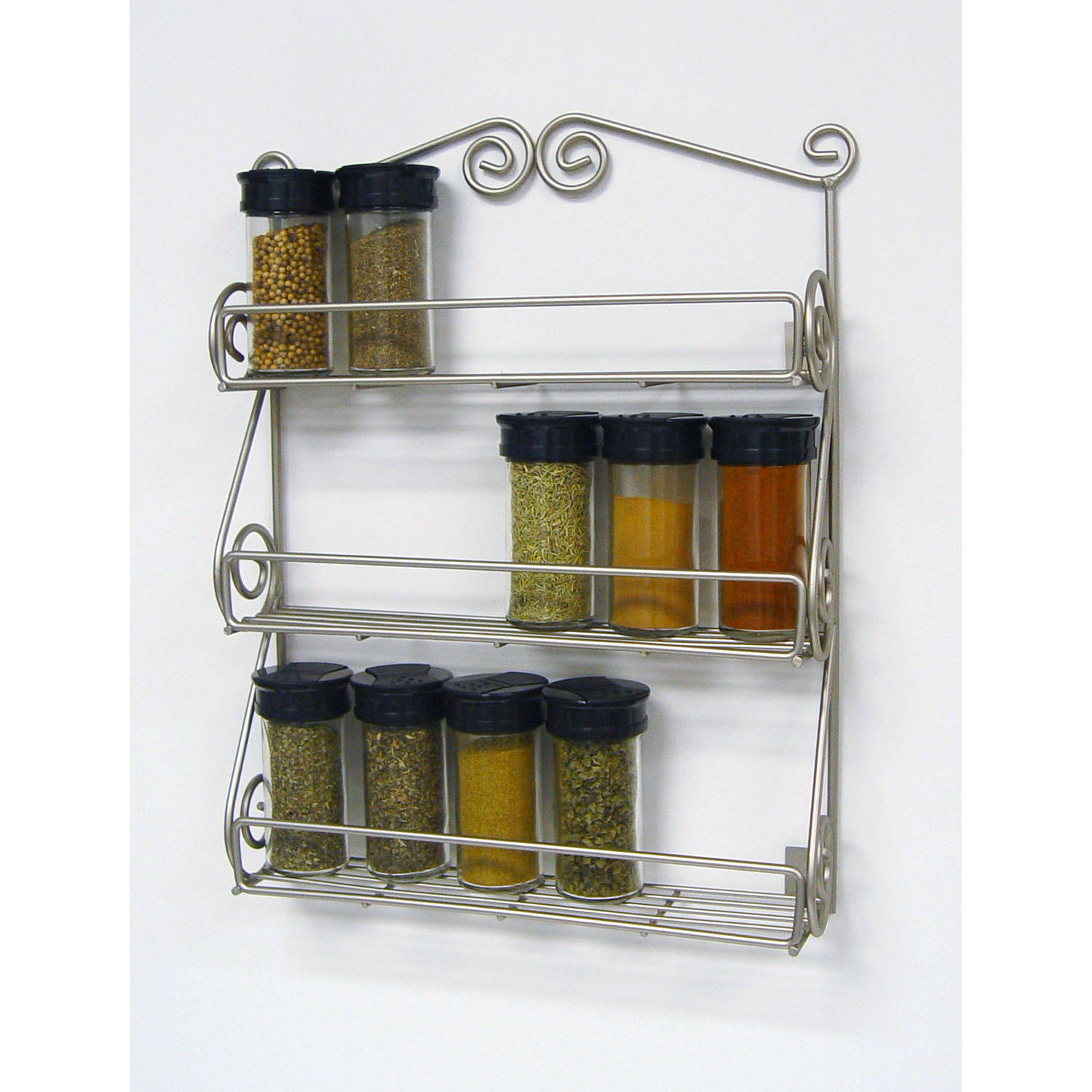 Spectrum Scroll Wall Mount Spice Rack, Satin Nickel
