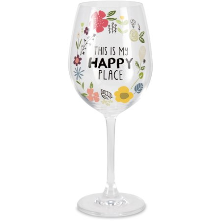 Floral Fusion Glass (Pavilion - This is my Happy Place Floral 12 oz Wine Glass)