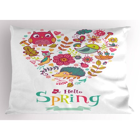 Hello Pillow Sham Doodle Style Hello Spring Quote Printed with Heart Shaped Frame of Animals Flowers, Decorative Standard Size Printed Pillowcase, 26 X 20 Inches, Multicolor, by (Flowers Heart Shaped)