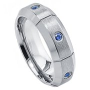 Custom Personalized Engraving Wedding Band Ring Set for Him & Her Titanium Band 7mm Titanium Ring Grooved with Six (6) 0.05 Carat Blue Sapphires