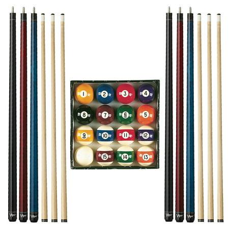 Viper Billiard Master Pool Ball Set, Viper Elite Series Red Unwrapped Cue, Viper Elite Series Black Unwrapped Cue, and Viper Elite Series Blue Unwrapped Cue