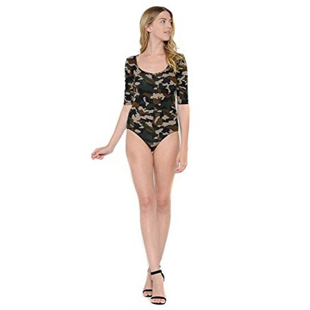 Sassy Apparel Womens Army Camo Pattern G String Jersey Body Suit (Large,