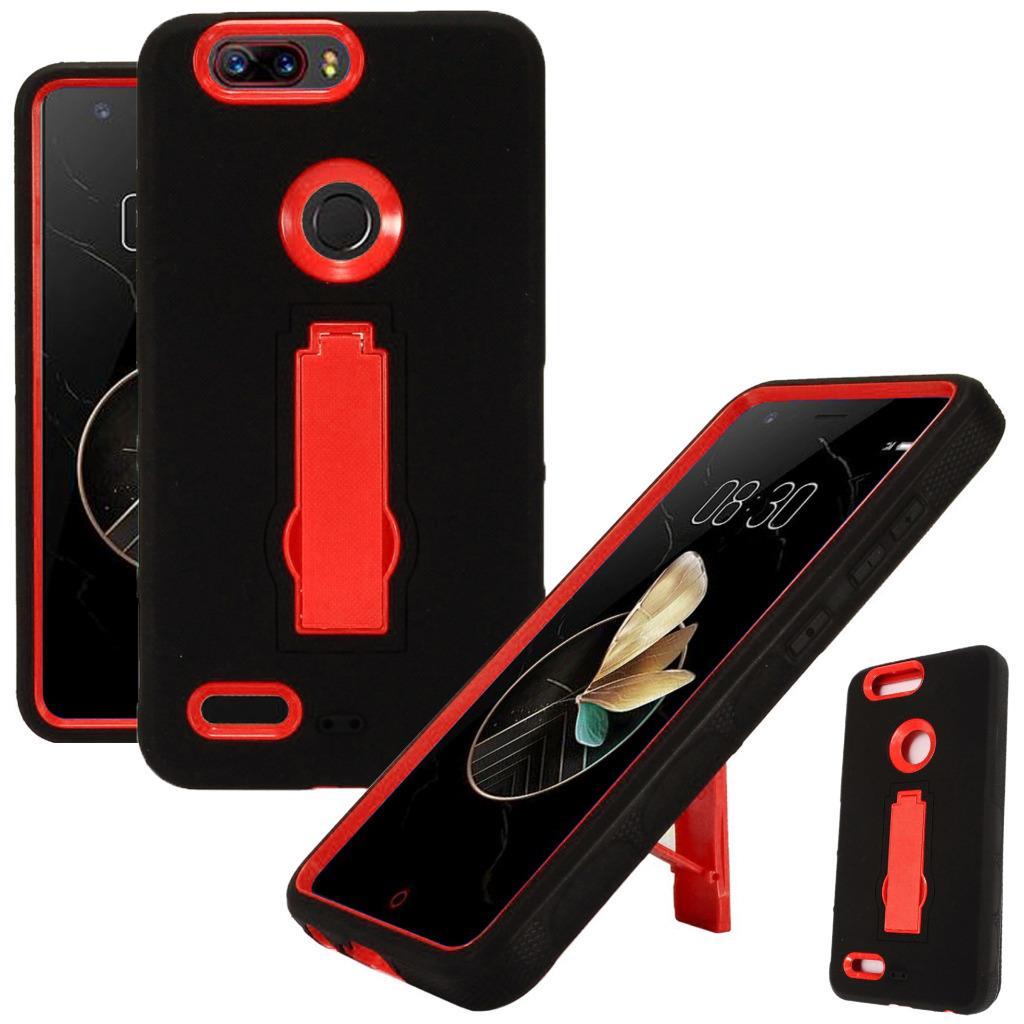 For ZTE Blade Z Max (MetroPCS) / ZTE ZMax Pro 2 / ZTE Grand X Max 4 / ZTE Sequoia Case Symbiosis Armor Hybrid Silicone Phone Cover w/ Stand (Red/Black)