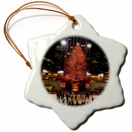 3dRose Christmas lights at Rockefeller Center in New York - Snowflake Ornament, 3-inch ()