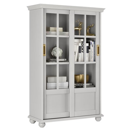 Novogratz Magnolia Hill Bookcase with Sliding Glass Doors, Gray