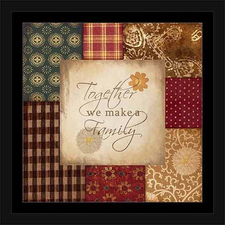 - Together Family Americana Folk Patchwork Primitive Pattern Inspirational Painting Red & Tan, Framed Canvas Art by Pied Piper Creative