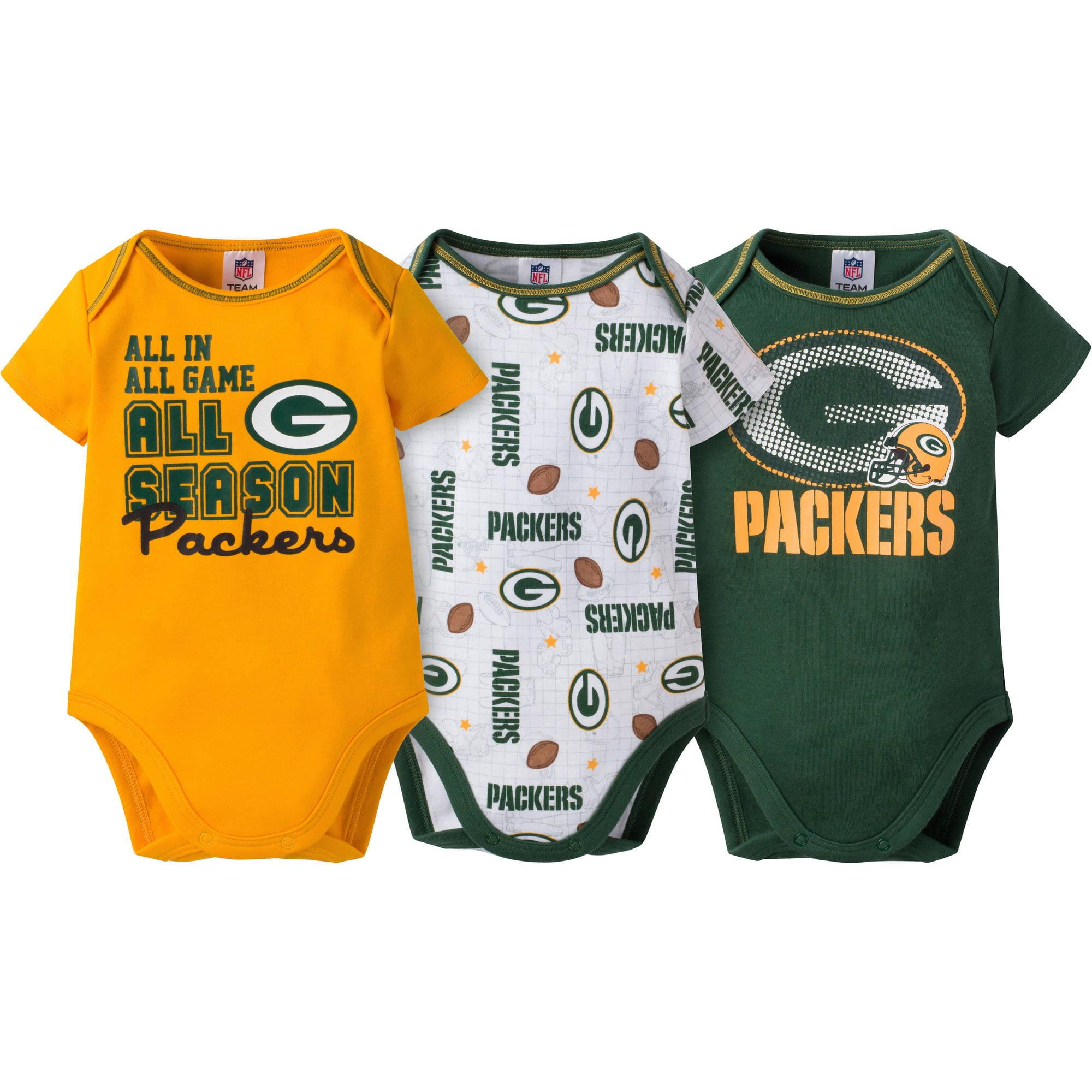 NFL Green Bay Packers Baby Boys Short Sleeve Bodysuit Set, 3-Pack