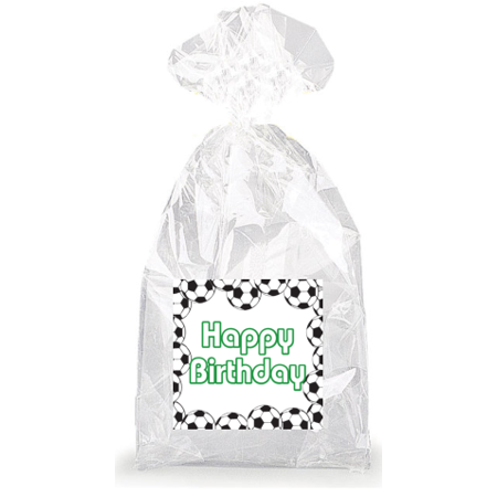 Green Soccer Happy Birthday  Party Favor Bags with Ties - 12pack