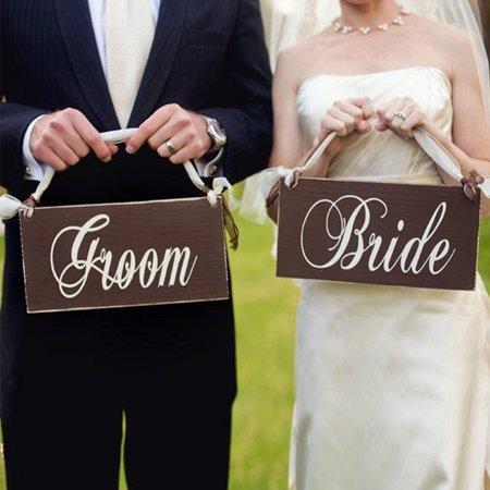 Creative Wooden Groom & Bride Wedding Chair Banner Set Chair Sign Vintage Wedding Party Decoration Shooting Props](Here Comes The Bride Banner)