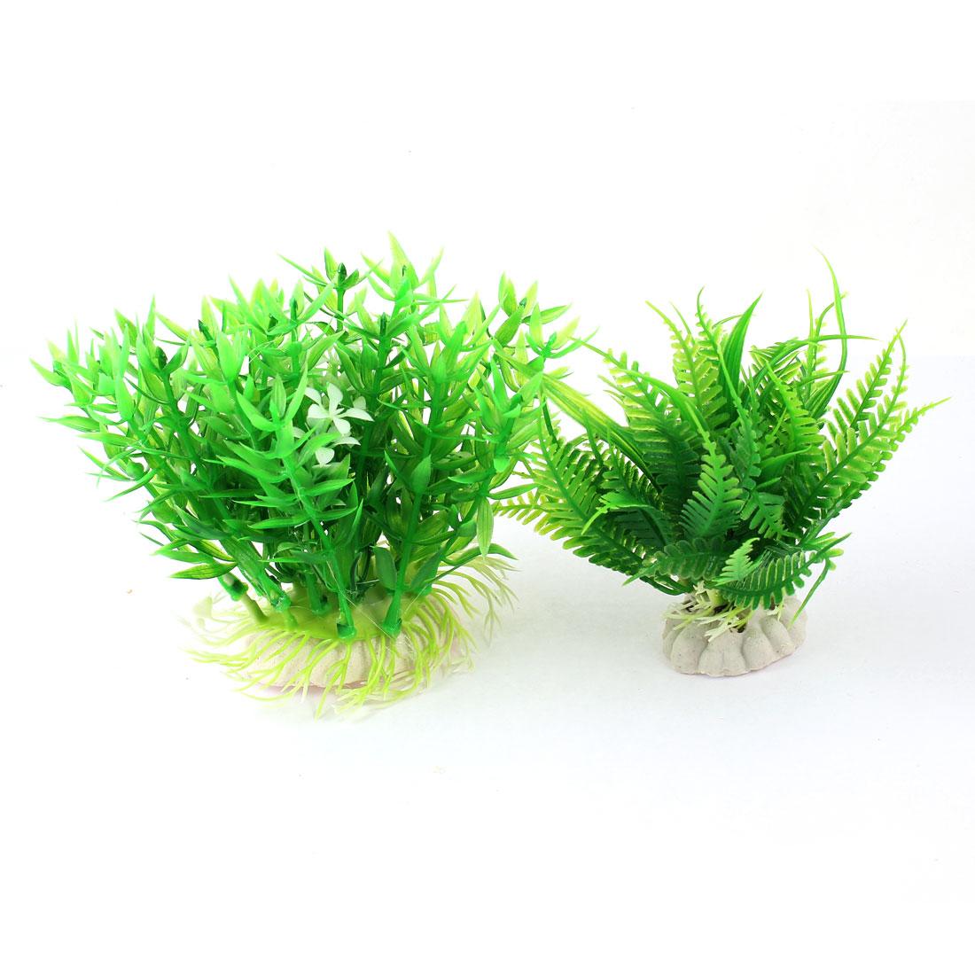 Unique Bargains Aquariums Decoration Green White Emulational Plastic Grass Plants 2 in 1