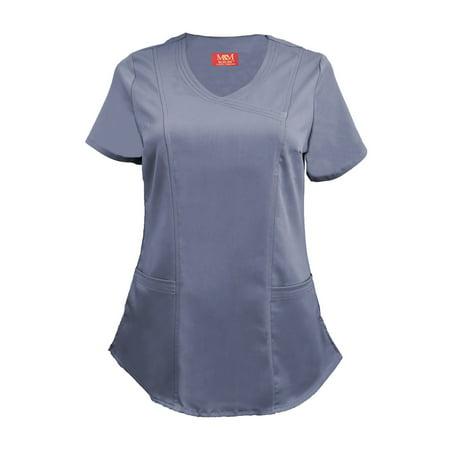 Natural Uniforms Women's Ultra Soft Stretch Mock Wrap Scrub Top 82011 (Charcoal, XXX-Large)