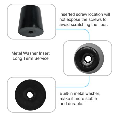 15pcs Rubber Feet Bumper Buffer Cabinet Leg Pad with Metal Washer, D49x40xH50mm - image 4 of 7