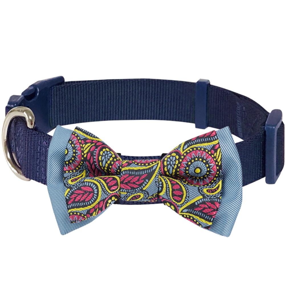 "Blueberry Pet Paisley Print Handmade Detachable Bow Tie Dog Collar in Navy Blue, Medium, Neck 14.5""-20"""