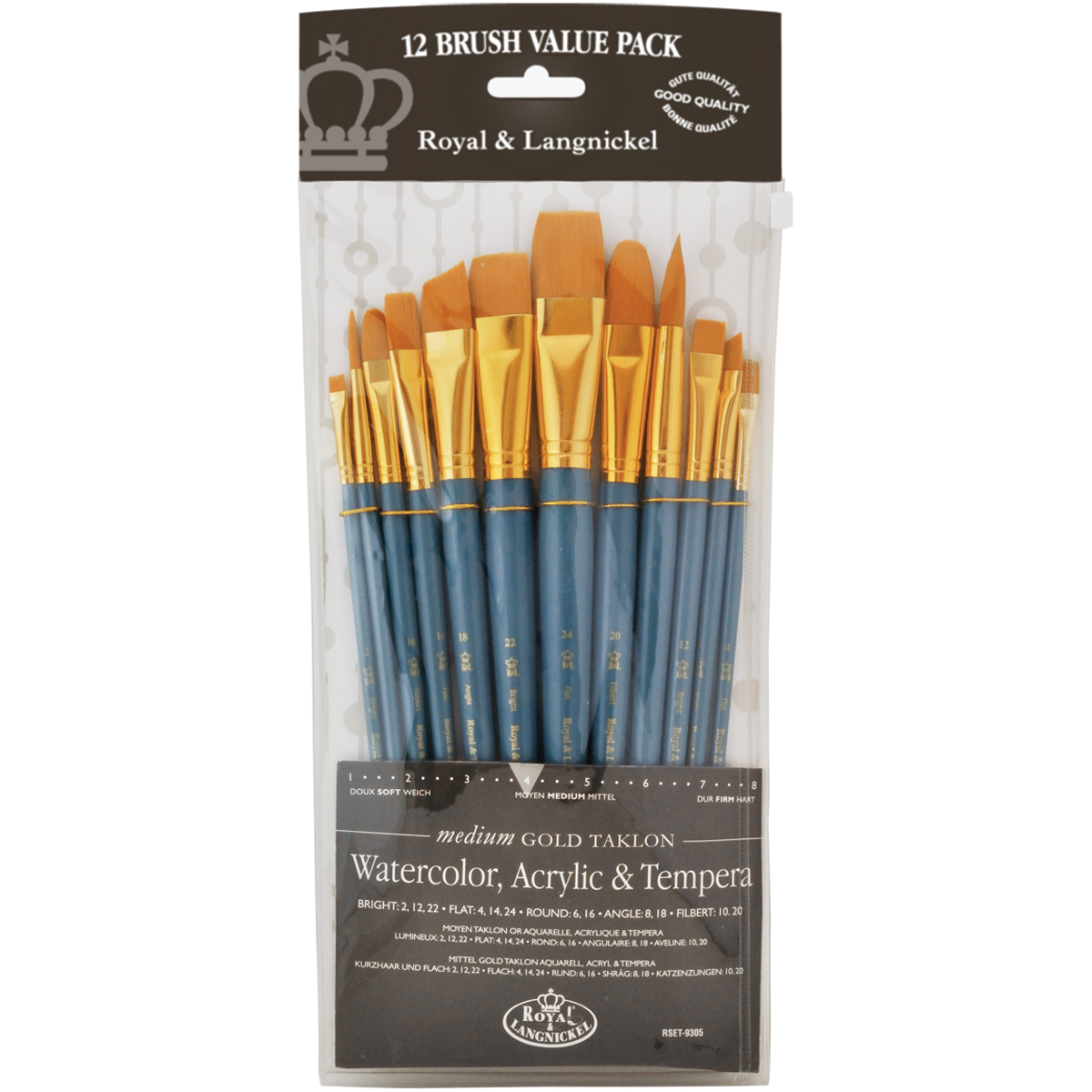 Gold Taklon Flat Value Pack Brush Set-12/Pkg