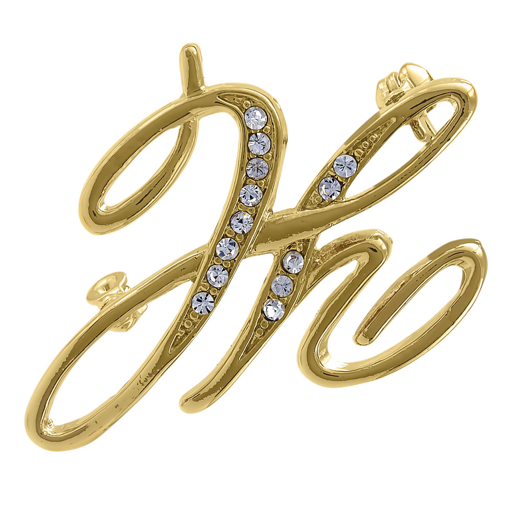 BERRICLE Gold Plated Base Metal Initial Letter 'H' Fashion Brooch Pin by BERRICLE
