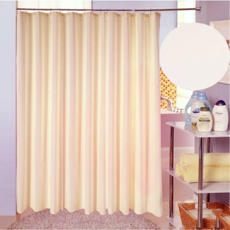 Solid Beige Polyester Fabric Shower Curtain Mildew Resistant Waterproof 71 X