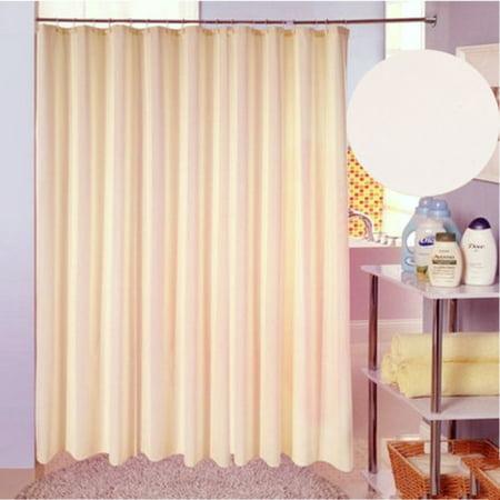 Solid Beige Polyester Fabric Shower Curtain Mildew Resistant Waterproof 71 X