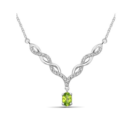 0.48 Carat T.G.W. Peridot Gemstone and 1/20 Carat T.W. White Diamond Pendant