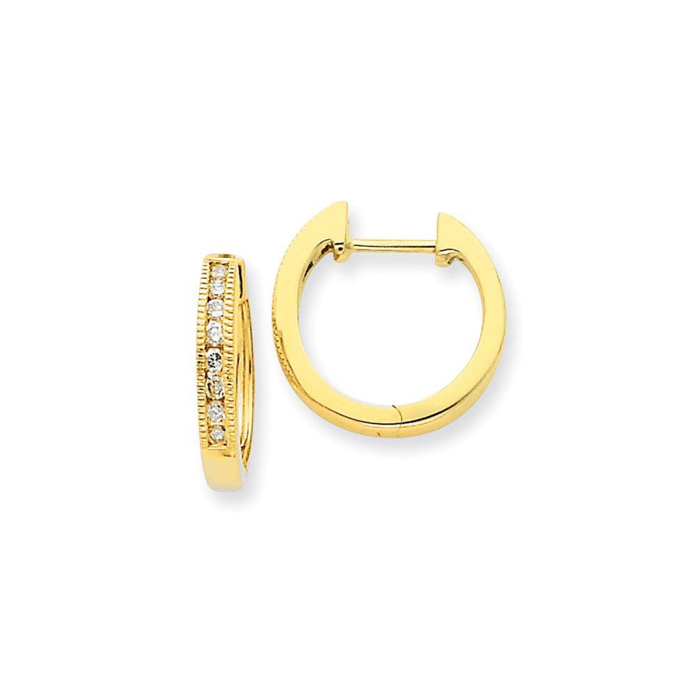 14k Yellow Gold Diamond Hoop Earrings. Carat Wt- 0.25ct (0.6IN Diameter)