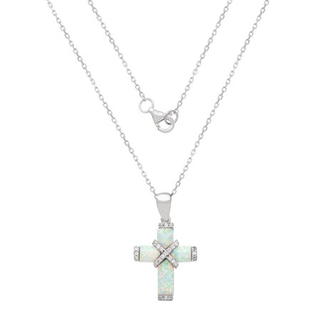 Sterling Silver Cubic Zirconia and Created Opal Cross Pendant, 18