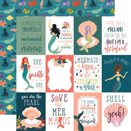 "3""X4"" Journaling Cards - Mermaid Tales Double-Sided Cardstock 12""X12"" (25/pack)"