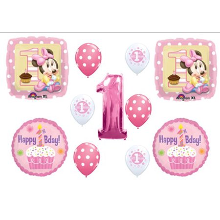 BABY MINNIE MOUSE CUPCAKE 1ST First BIRTHDAY PARTY Balloons Decorations Supplies