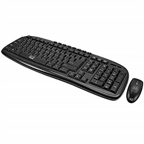 Refurbished Adesso WKB-1330CB - Wireless Keyboard and Mouse Combo, Desktop Keyboard, Ambidextrous Mouse, Multimedia Hotkeys, Long Battery Li