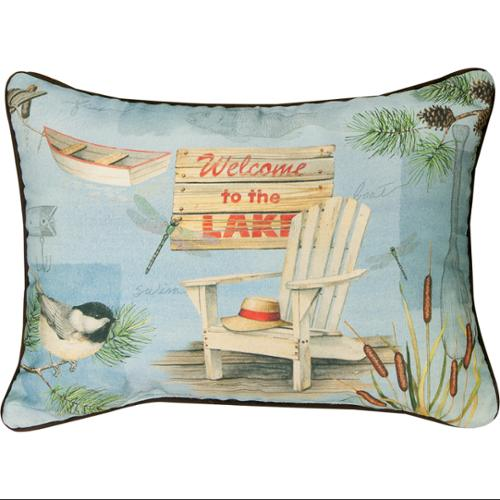 "18"" Welcome to the Lake Decorative Throw Pillow"