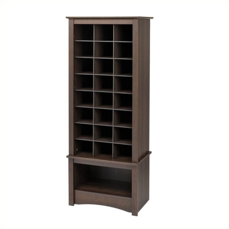Bowery Hill Tall 24 Cubby Shoe Cabinet in Espresso