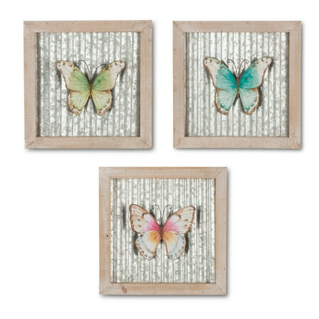 Assorted 3-D Butterfly Wall Decorations with Metallic Backdrop and Stained Wood - Wood Butterfly